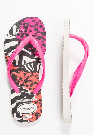 SLIM ANIMALS - Badesko - white/shocking pink