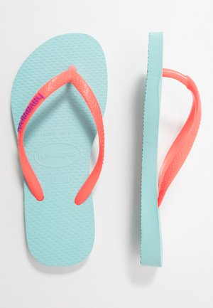 SLIM LOGO - Tongs - ice blue/coralnew