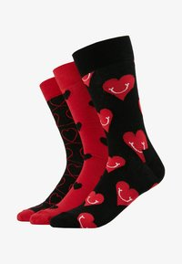 Happy Socks - I LOVE YOU GIFT BOX 3 PACK - Calcetines - black/red - 1