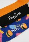 Happy Socks - HAMBURGER HALF STRIPE SOCK 2 PACK - Socken - black/multi-coloured