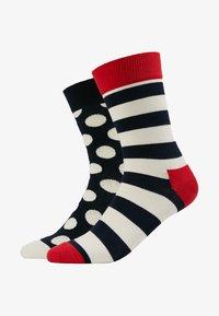 Happy Socks - BIG DOT STRIPE SOCK 2 PACK - Ponožky - black/white/red - 1