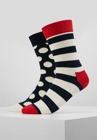 Happy Socks - BIG DOT STRIPE SOCK 2 PACK - Ponožky - black/white/red - 0