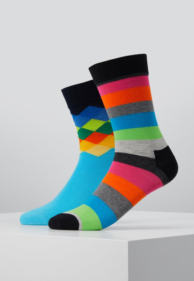 2 PACK FADED DIAMOND STRIPE SOCK - Sokker - multi