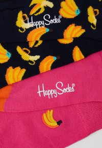 Happy Socks - BANANA EMBROIDERY  2 PACK - Sokken - black/yellow/pink - 2
