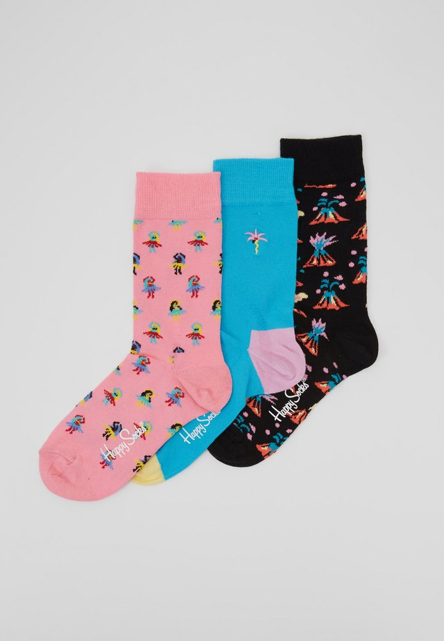 3 PACK HULA  VOLCANO  EMROIDERED PALM - Ponožky - multi