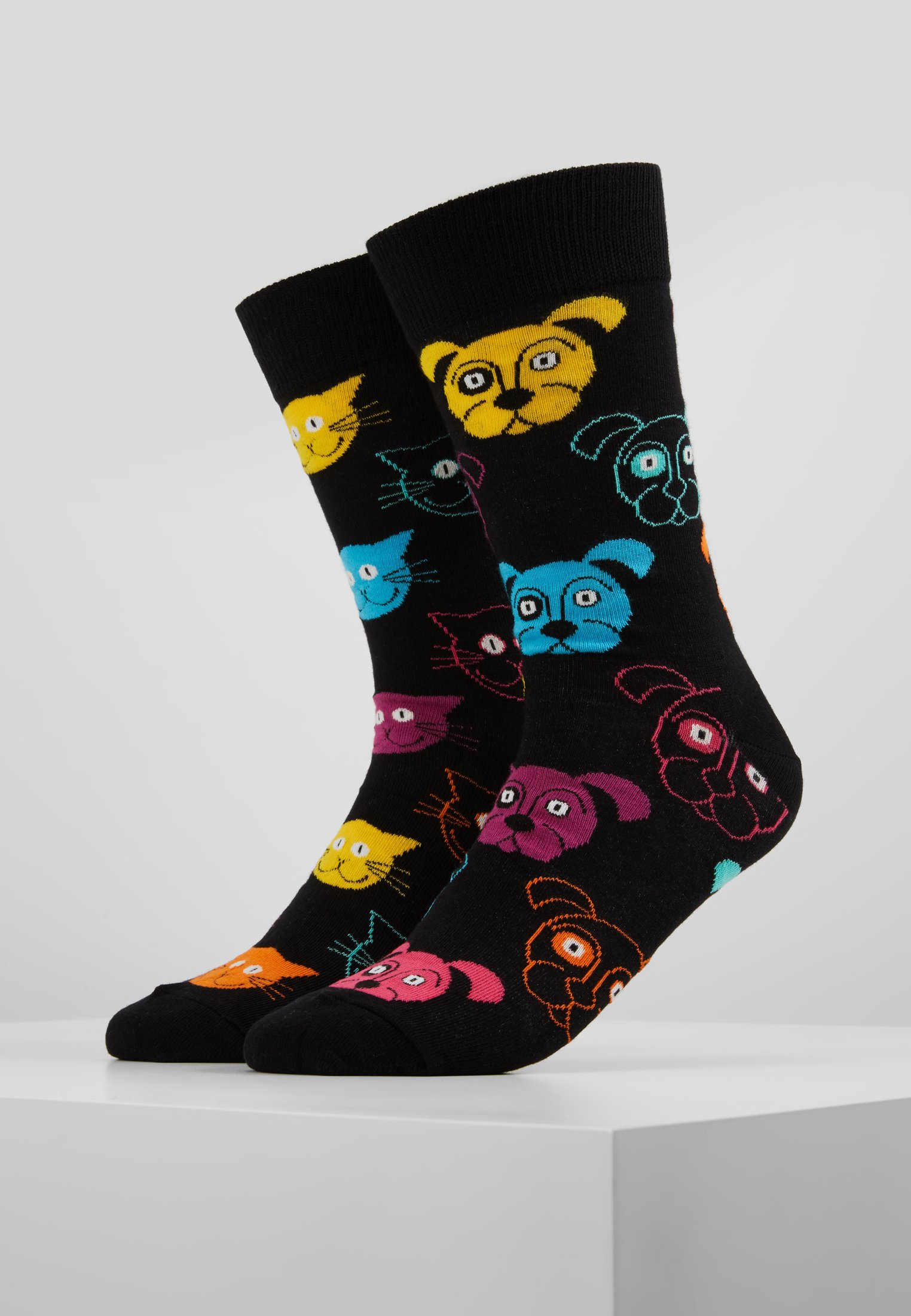 Happy 2 Socks PackChaussettes Cat Dog Gift Box Black SqUzVMpLG