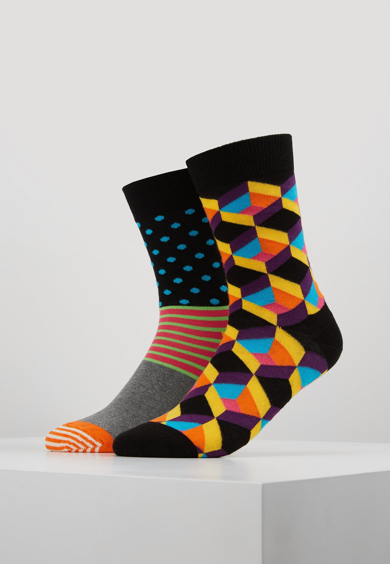 Dot Socks 2 stripe And Optic Multi Square Happy PackChaussettes SUzpqLMVG