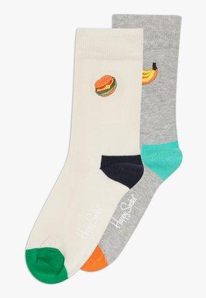 KIDS EMBROIDERY CREW 2 PACK - Ponožky - grey/white