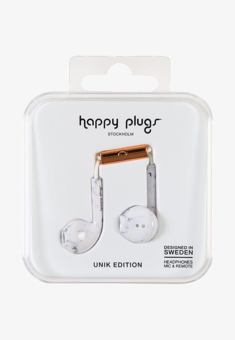 Happy Plugs - UNIK EARBUD PLUS - Kopfhörer - white marble