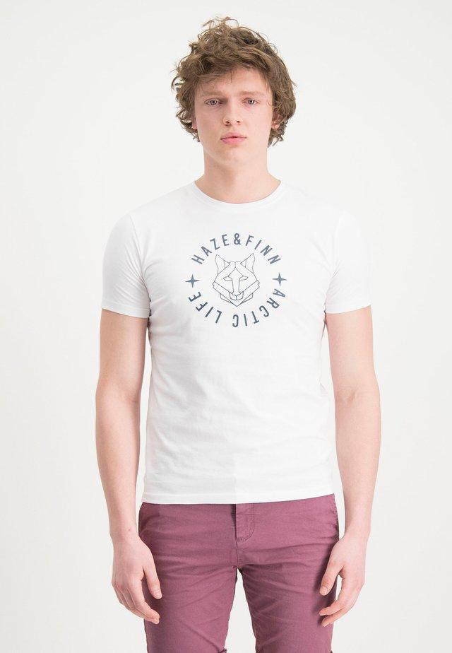HAZE&FINN T-SHIRT - Triko spotiskem - white-lightindigo
