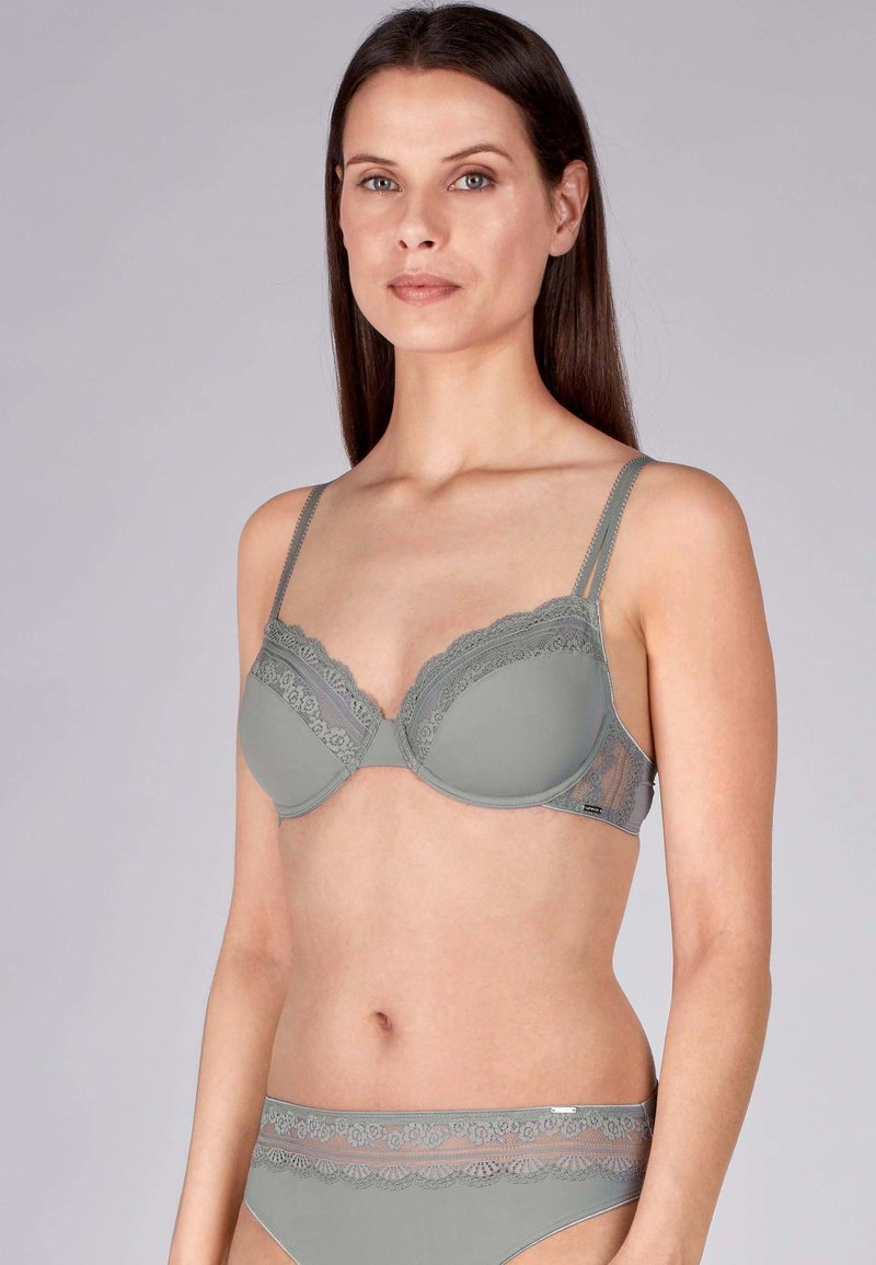 Huber Bodywear - MIT ELEGANTER SPITZE - Underwired bra - grey