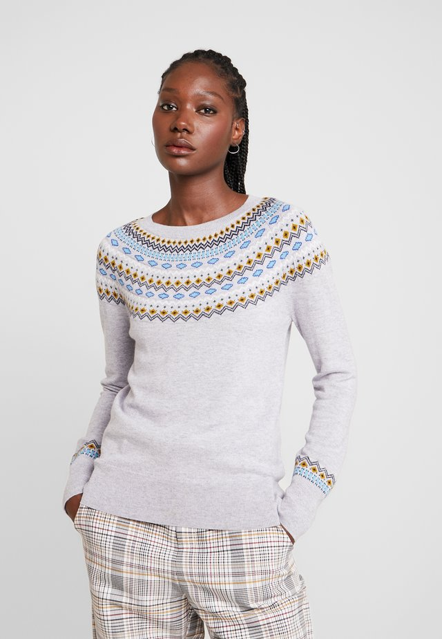 GRETA FAIRISLE UPDATE SWEATER - Sweter - grey melange