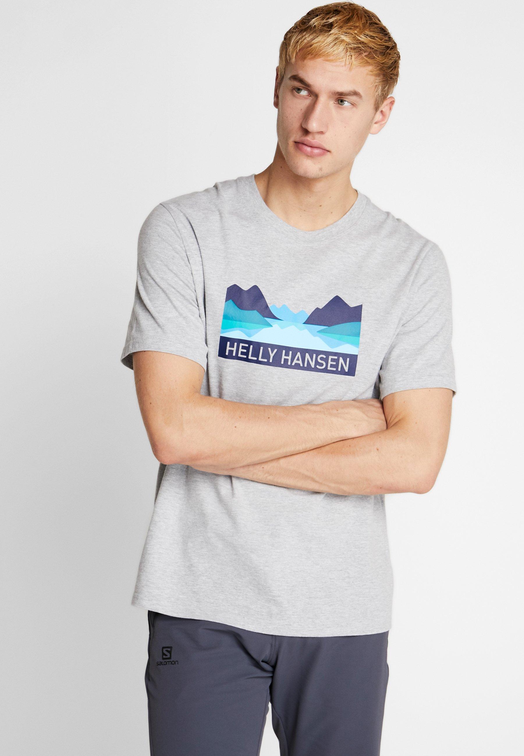 Helly Hansen NORD GRAPHIC  - T-shirt z nadrukiem - grey melange