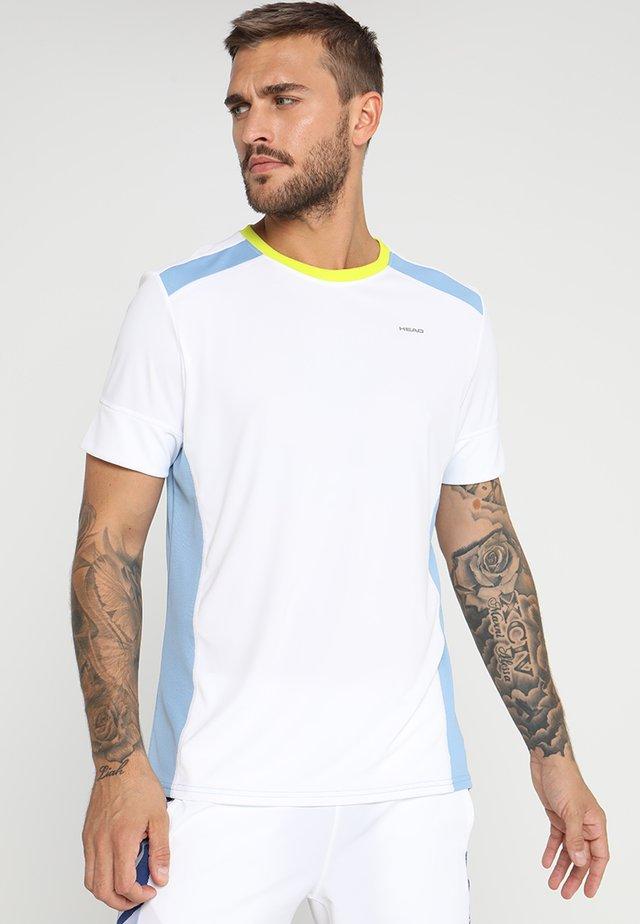 T-shirt print - white/skyblue