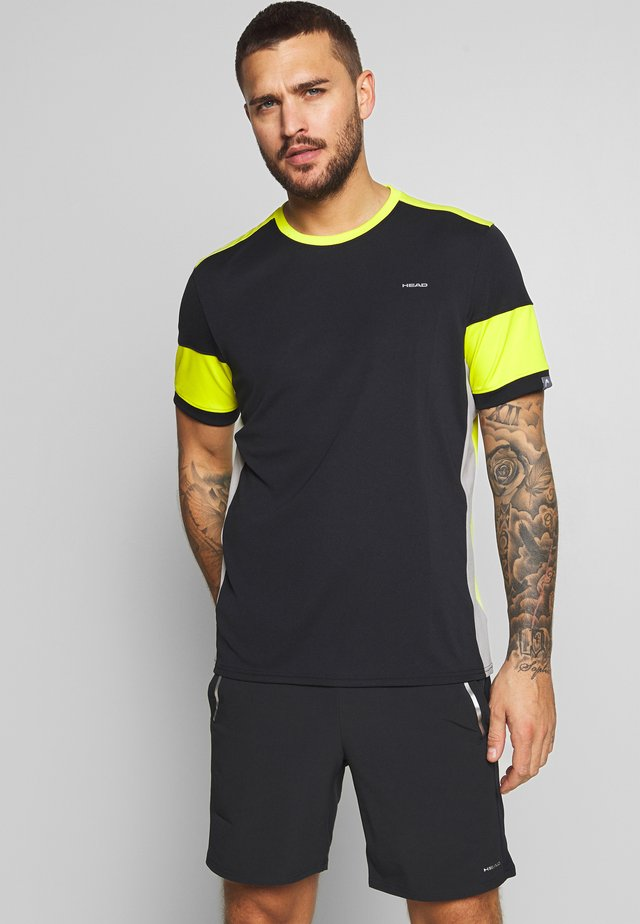 VOLLEY - T-shirt imprimé - black/yellow