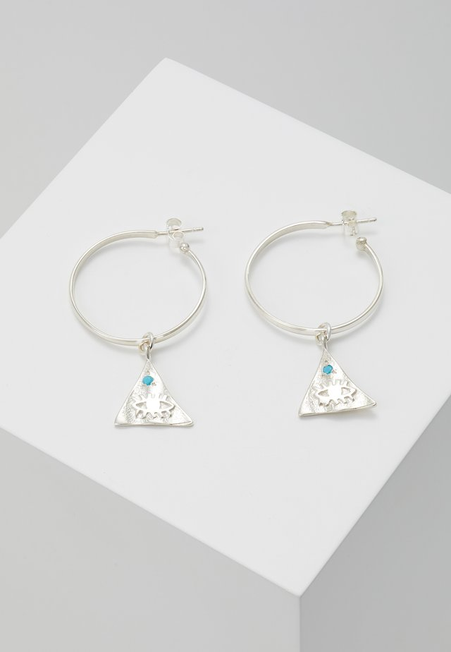 KRESSIDA PYRAMIS HOOP  WITH SMALL PYRAMIS - Earrings - silver/turquoise