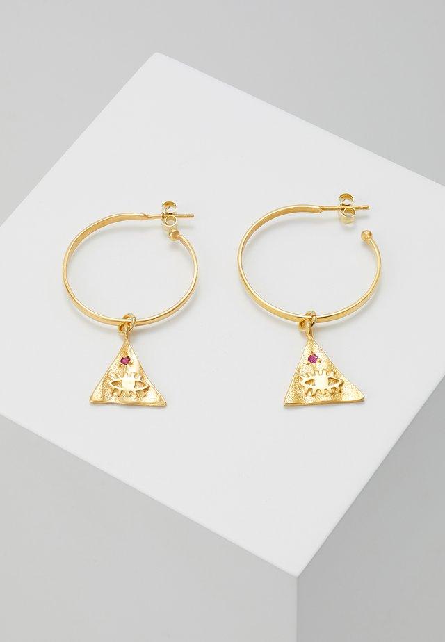 KRESSIDA PYRAMIS HOOP  WITH SMALL PYRAMIS - Örhänge - gold-coloured/red