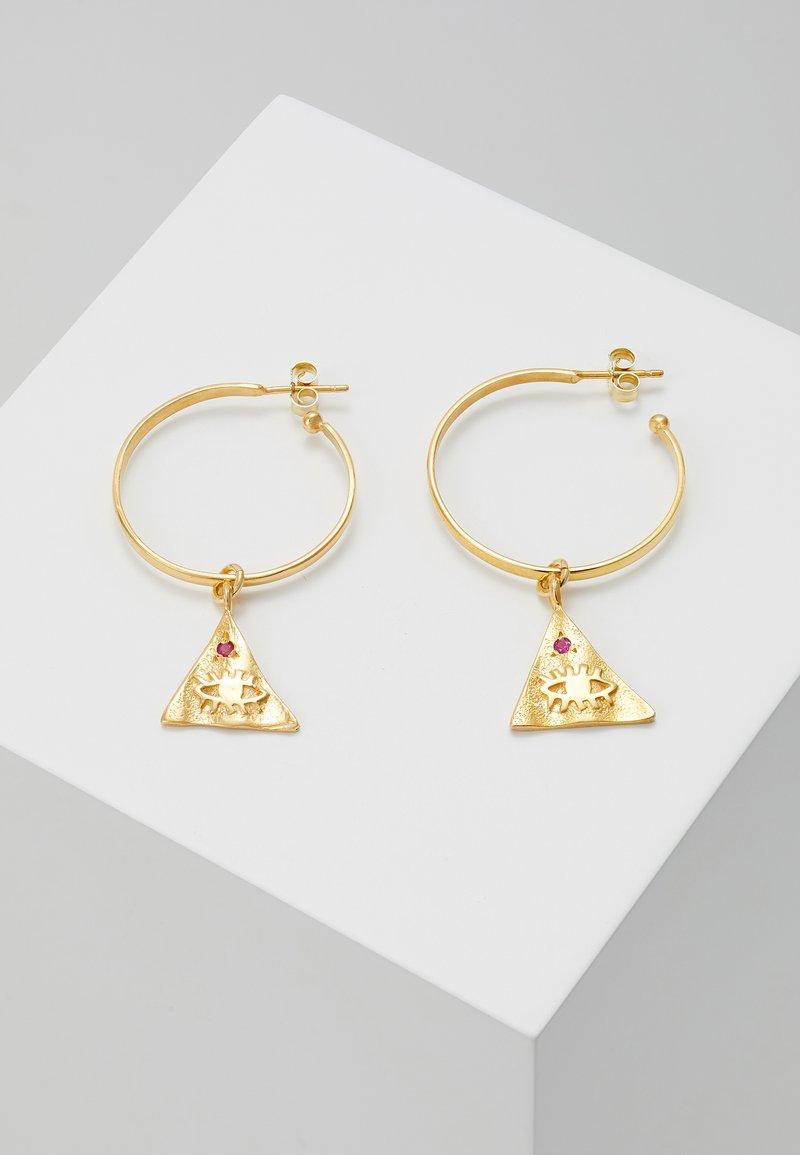 Hermina Athens - KRESSIDA PYRAMIS HOOP  WITH SMALL PYRAMIS - Earrings - gold-coloured/red