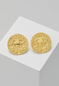 Hermina Athens - KRESSIDA SMALL PIN EARRINGS PAIR - Kolczyki - gold-coloured/citrine - 0