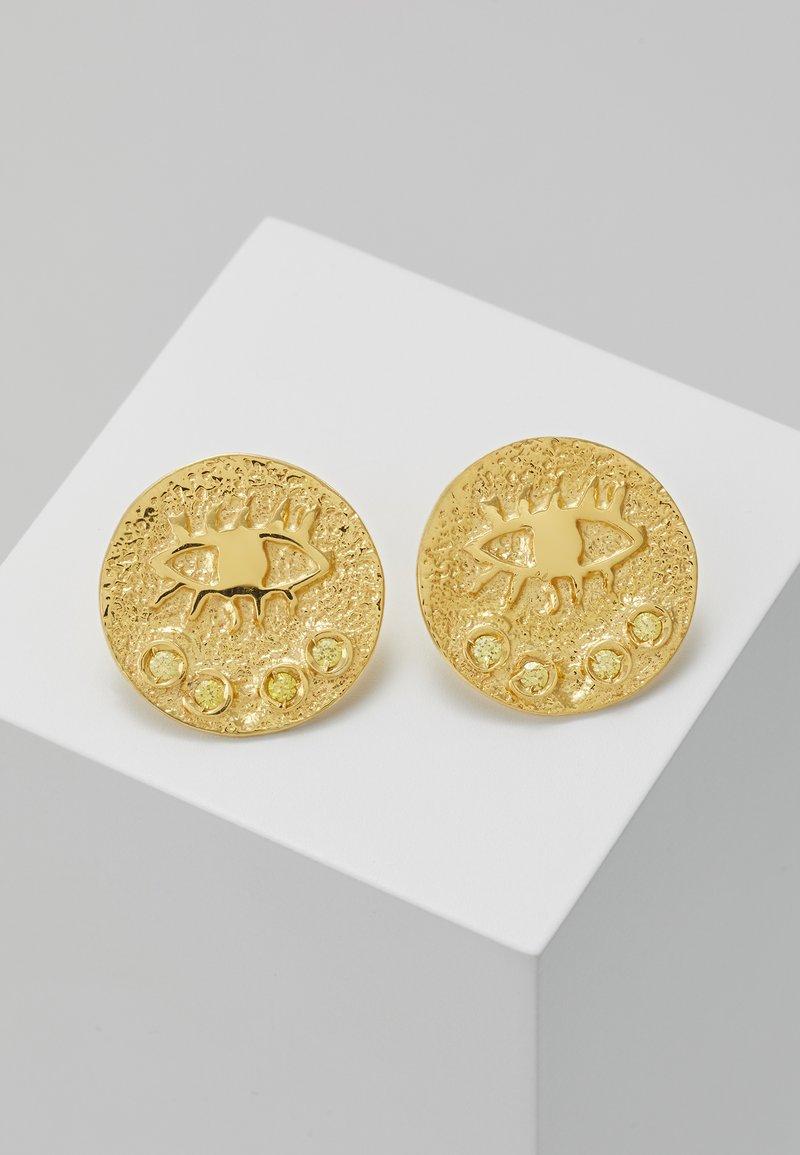 Hermina Athens - KRESSIDA SMALL PIN EARRINGS PAIR - Kolczyki - gold-coloured/citrine