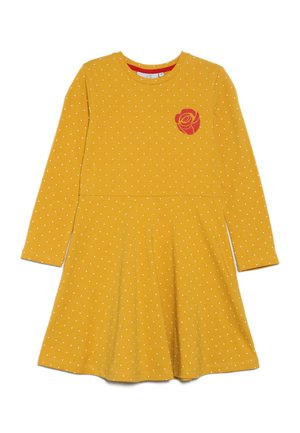 DOTS AND BIG HEART - Robe en jersey - mustard yellow