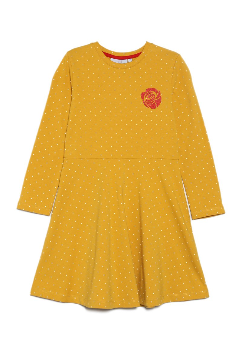 happy girls - DOTS AND BIG HEART - Jersey dress - mustard yellow