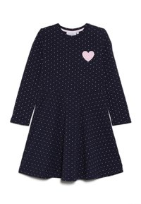 happy girls - DOTS AND BIG HEART - Jersey dress - navy - 0