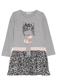 happy girls - LEOPARD - Jersey dress - grey melange - 0