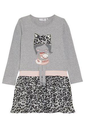LEOPARD - Jersey dress - grey melange