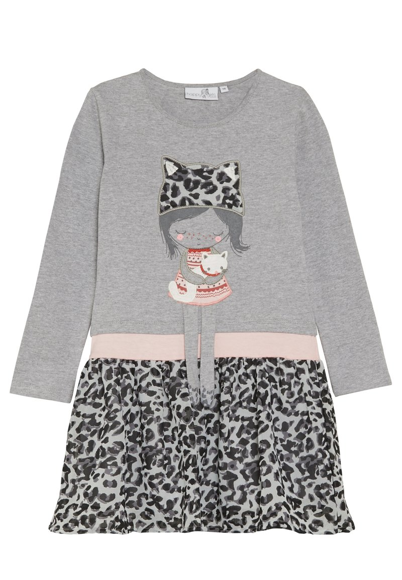 happy girls - LEOPARD - Jersey dress - grey melange