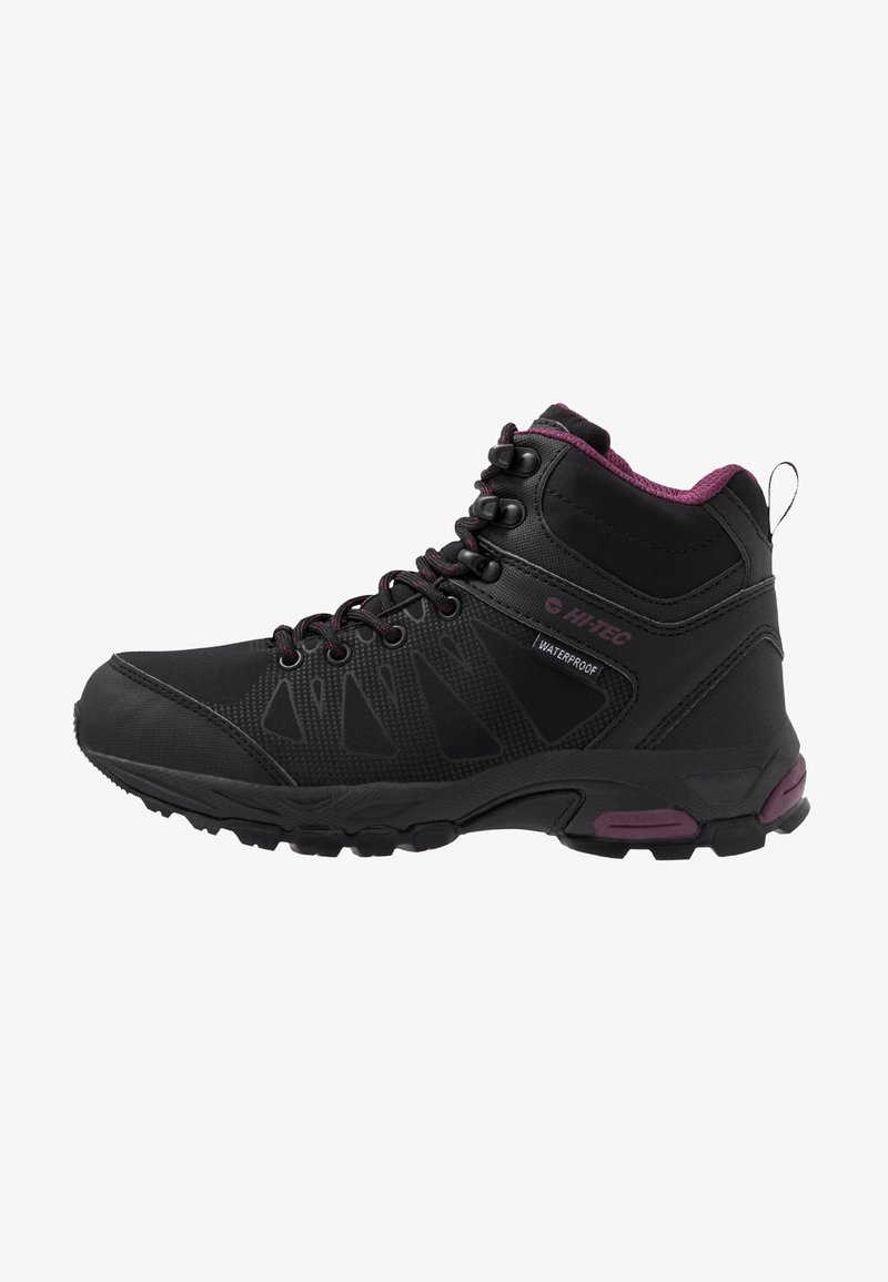 Hi-Tec - RAVEN MID WP WOMENS - Hiking shoes - black/grape wine
