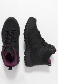 Hi-Tec - RAVEN MID WP WOMENS - Hiking shoes - black/grape wine - 1