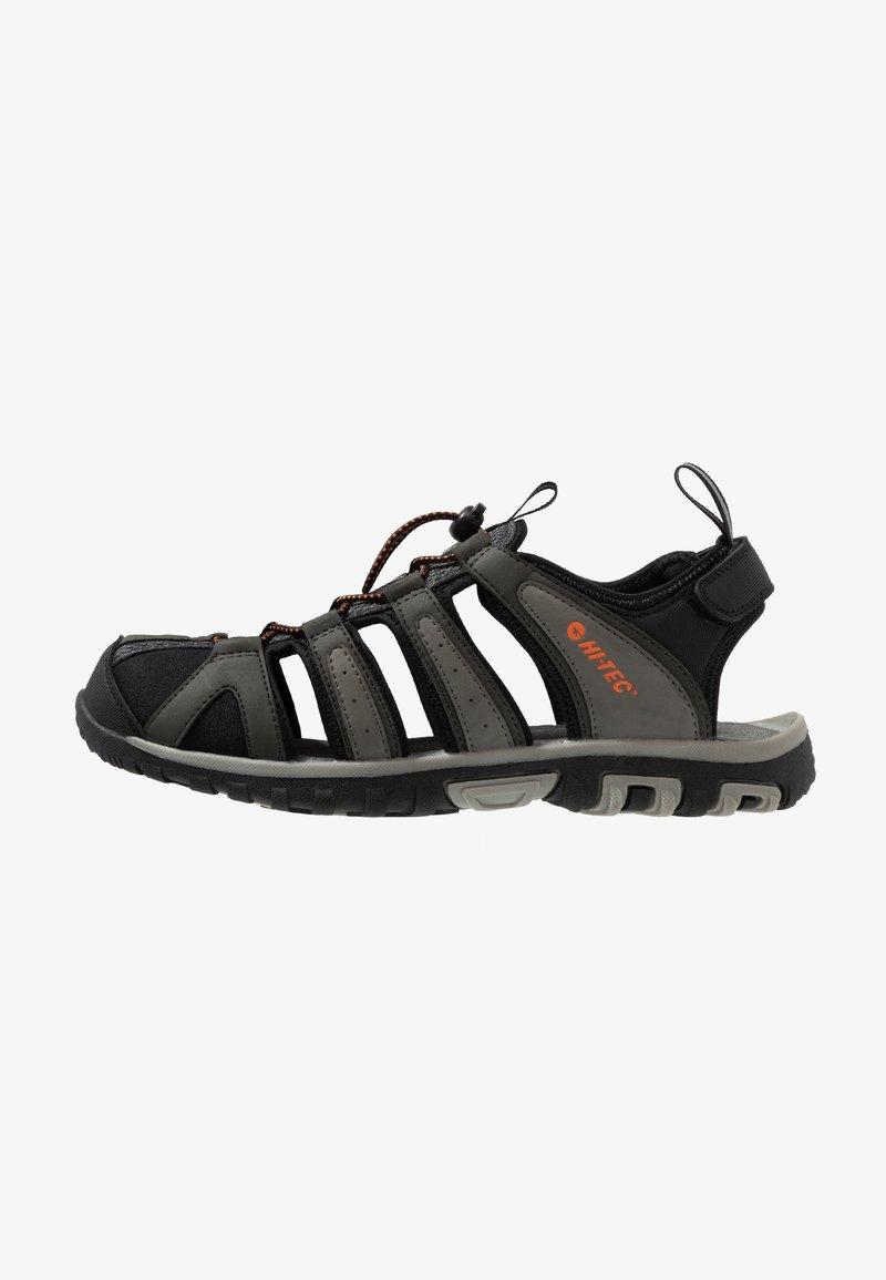 Hi-Tec - COVE BREEZE - Walking sandals - charcoal/cool grey/black/red orange