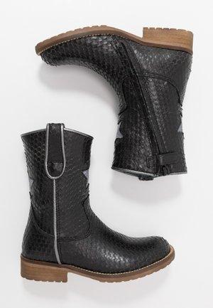Cowboy/Biker boots - black scale