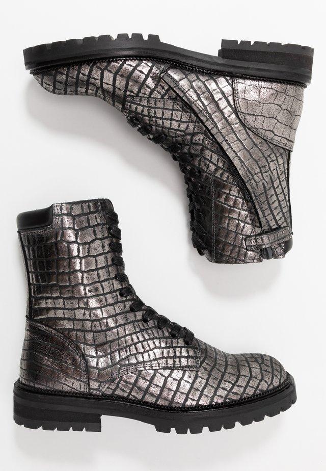 Bottines à lacets - dark silver