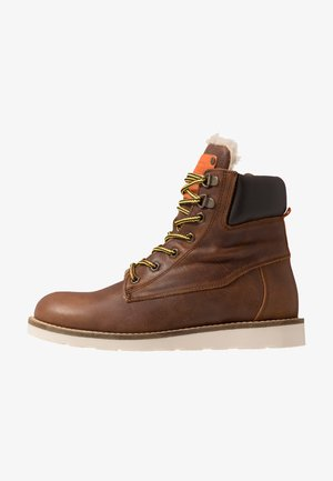 Lace-up ankle boots - chestnut