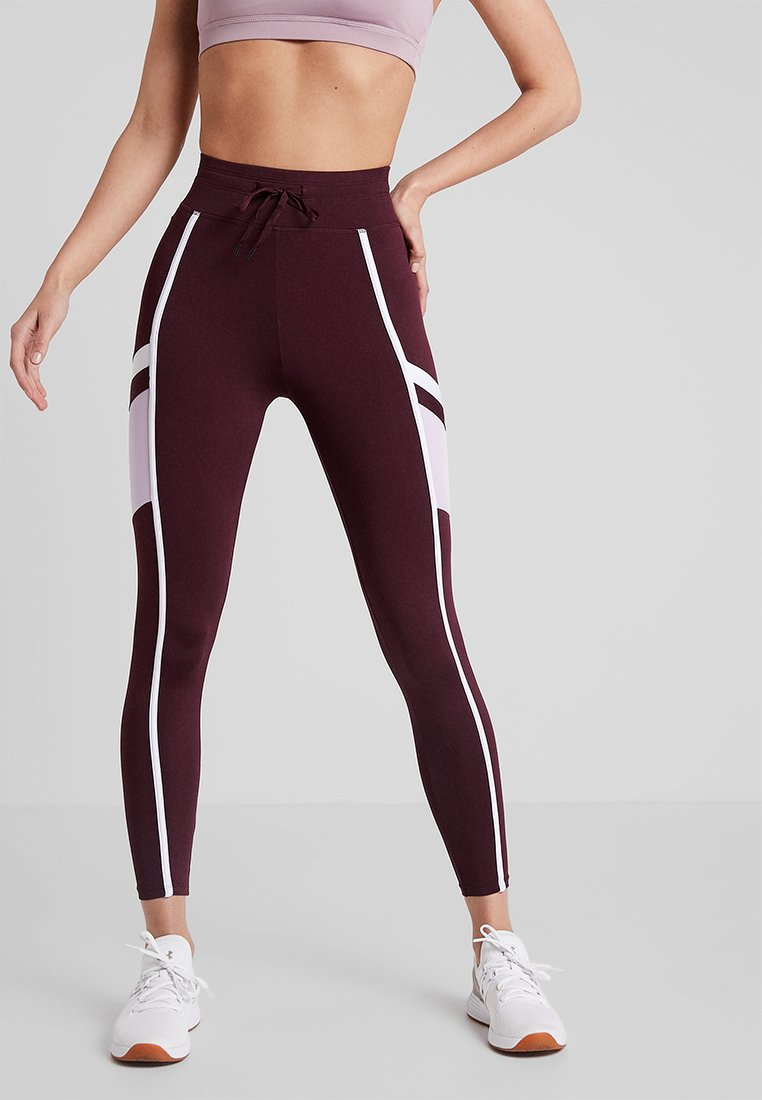 HIIT - STRIPED LEGGINGS - Tights - burgundy