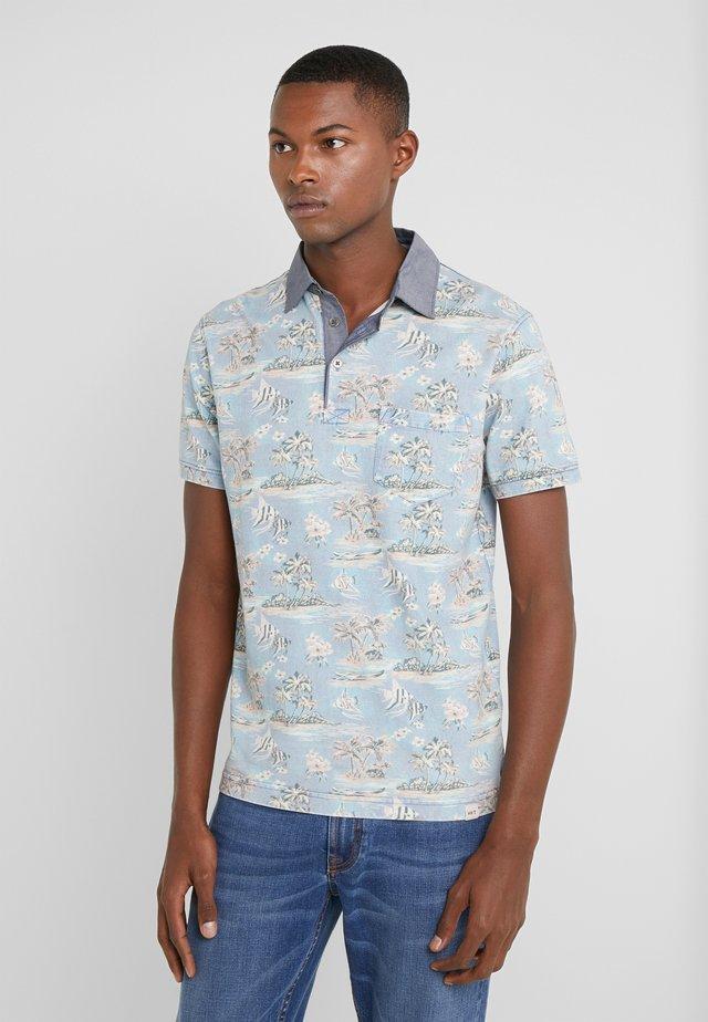 PRINT - Polo shirt - blue/grey