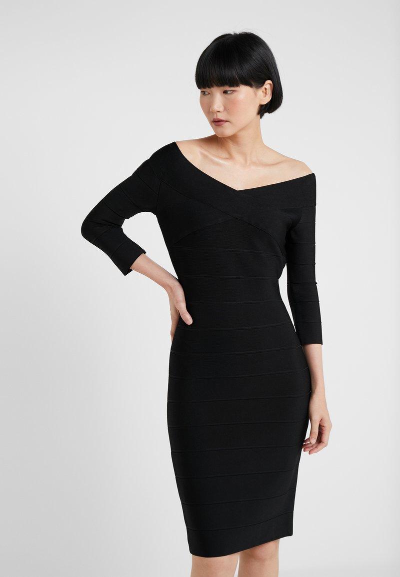 Hervé Léger - V NECK BANDAGE DRESS - Etuikleid - black