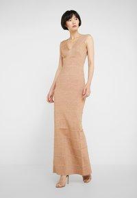 Hervé Léger - V-NECK DRESS - Společenské šaty - gold - 0