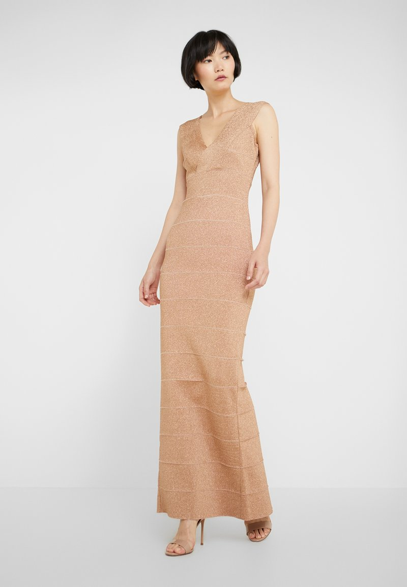 Hervé Léger - V-NECK DRESS - Společenské šaty - gold