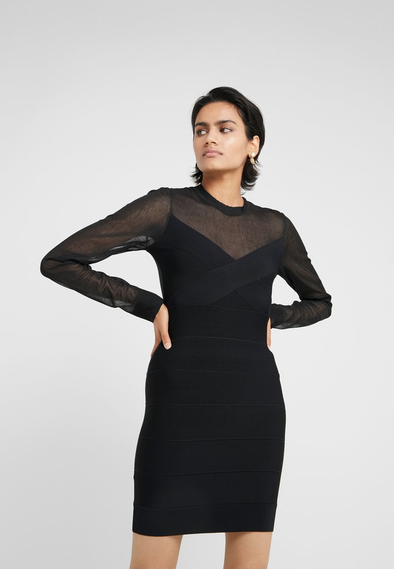 Hervé Léger - LONGSLEEVE MESH DRESS - Robe en jersey - black
