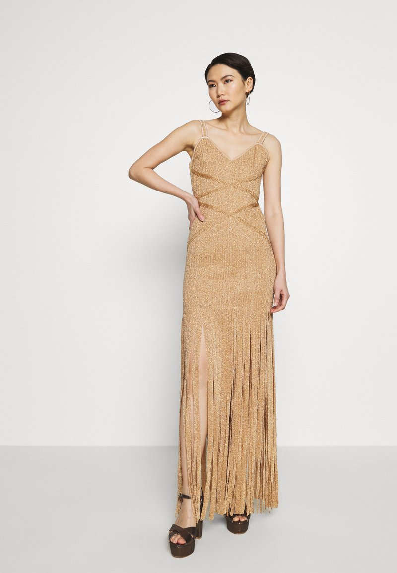 Hervé Léger - FRINGE GOWN - Occasion wear - gold/combo