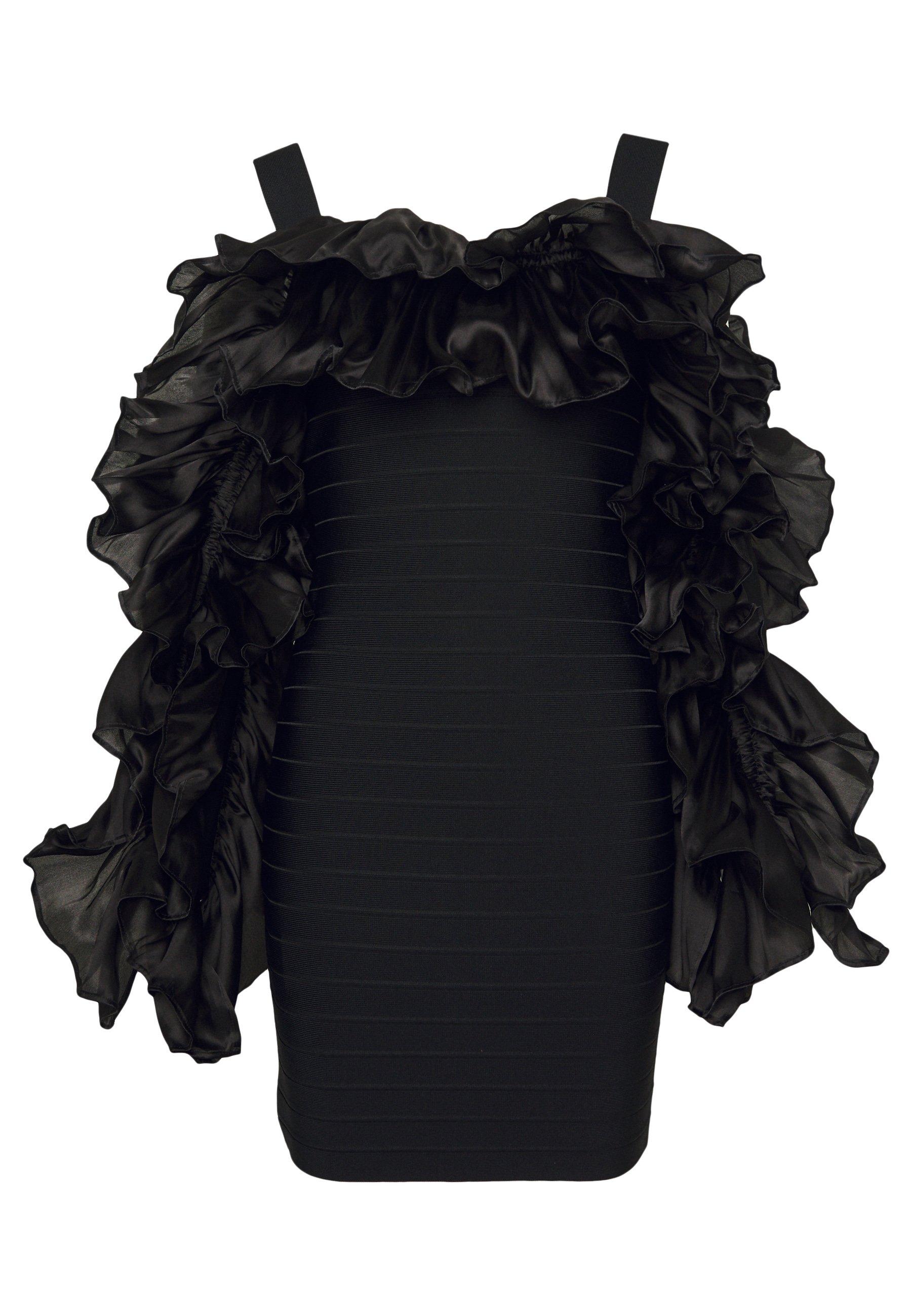 Hervé Léger RUFFLE SLEEVE MINI - Sukienka koktajlowa - black