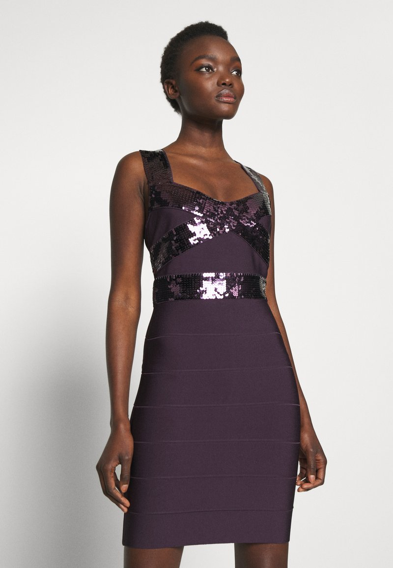 Hervé Léger - SEQUINS MINI DRESS CROSS BACK - Koktejlové šaty / šaty na párty - french plum