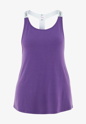 STRAPPY TANK TEXT - Topper - purple cactus flower