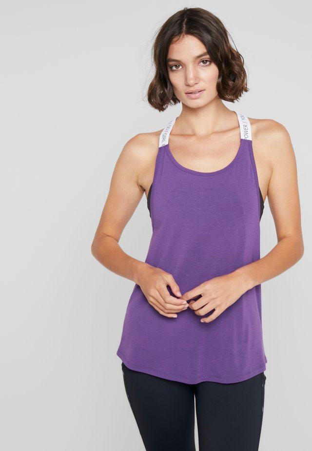 STRAPPY TANK TEXT - Toppi - purple cactus flower