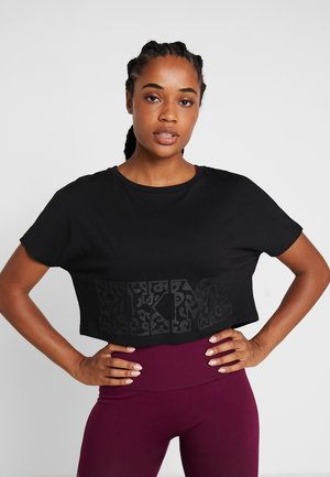 TEE CROP - T-shirt med print - black