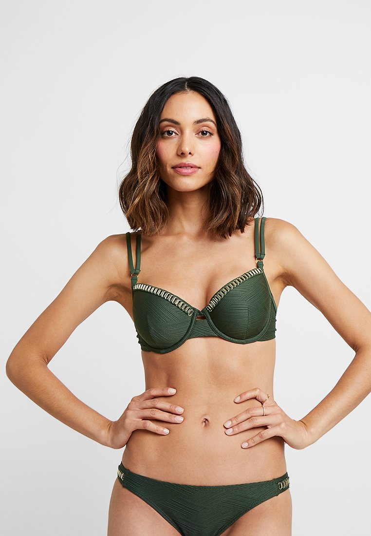 Hunkemöller - LINES DEMI - Bikini-Top - khaki