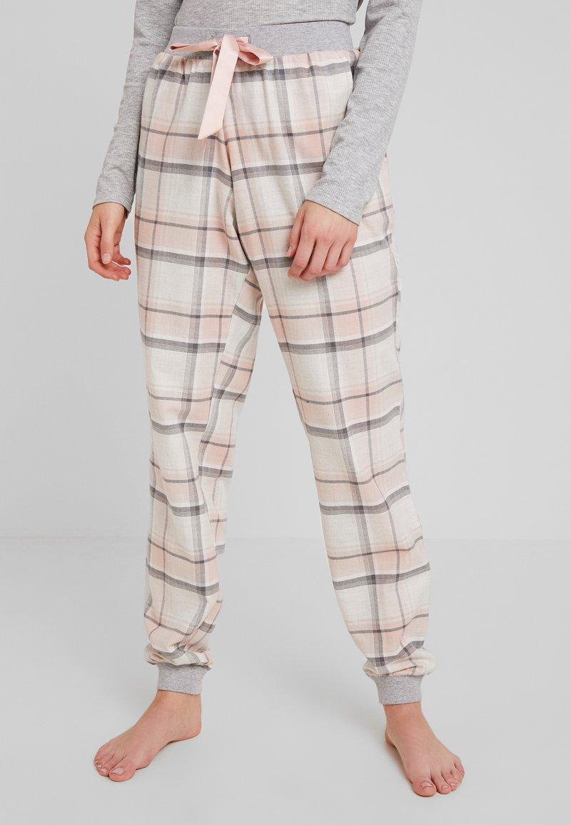 Hunkemöller - PANT TWILL CHECK CUFF - Pyjamasbukse - cloud pink